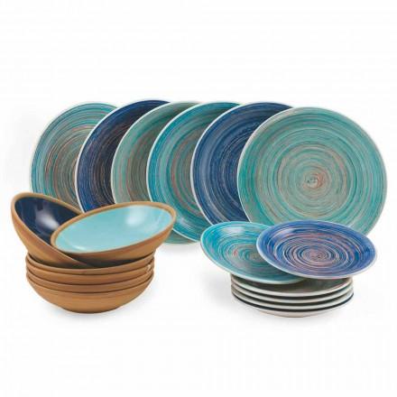 Placi colorate și moderne 18 bucăți în gresie Serviciu de masă complet - Egadi
