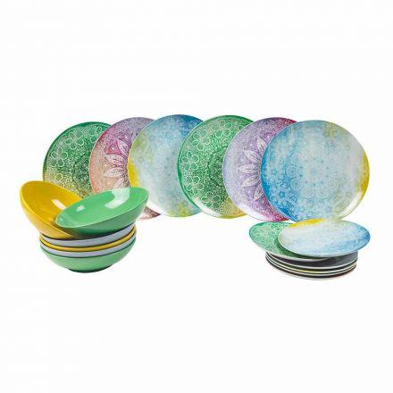Mese colorate din porțelan 18 bucăți de servire - Ipanema