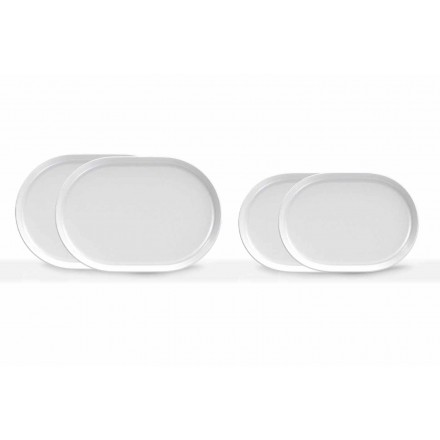 Farfurii de servire ovale albe, de design modern, din porțelan, 4 bucăți - Arctic