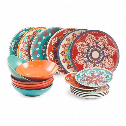 Mâncăruri etnice 18 bucăți de masă de porțelan și gresie colorată - Persia