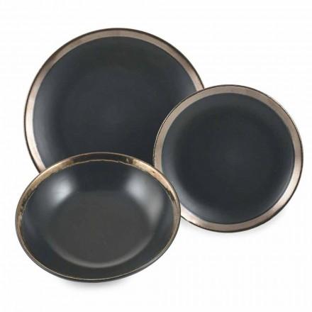 Placi de gresie negru și auriu Set de tacâmuri moderne 18 piese - Oronero