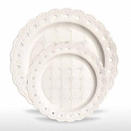 Placă Favor 12 piese în porțelan alb decorate manual - Rafiki