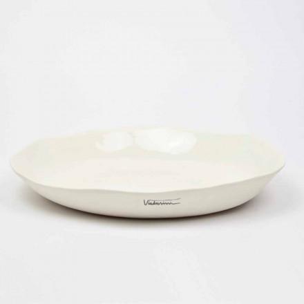 Plat de servire rotund din porțelan alb de lux italian - Arcimaesta