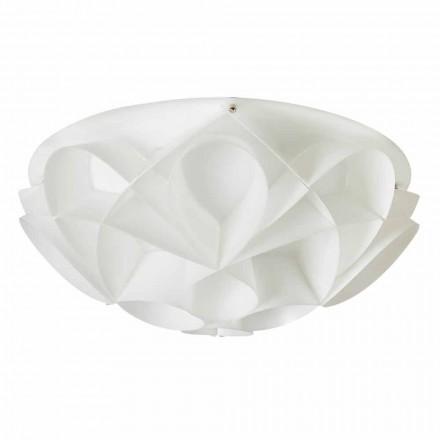 3 lumini plafon realizate în Italia perle albe, cu diametrul de 51 cm, Lena