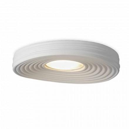 Lampă de tavan de design modern, din tencuială albă mată - lemn dulce