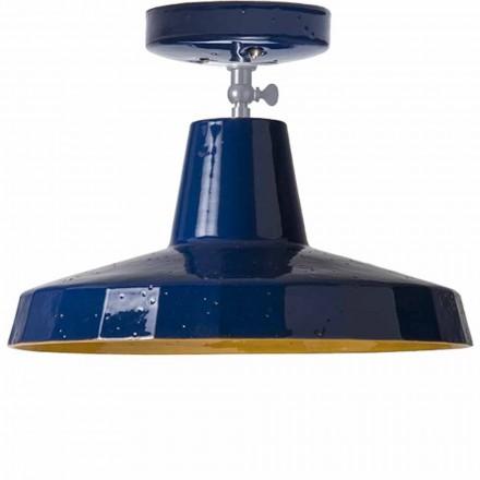 Lampa de plafon in maiolica toscana si alamă, 30cm, Rossi - Toscot