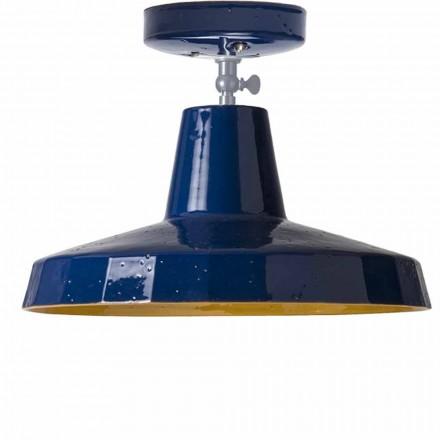 Lampa de plafon din alamă și maiolică toscană, 42cm, Rossi - Toscot