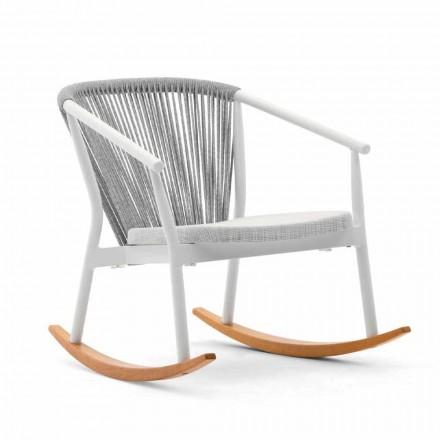 Fotoliu balansoar din lemn masiv și material textil - inteligent de Varaschin
