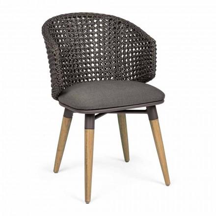 Fotoliu de grădină cu picioare din tec și scaun din țesătură, Homemotion - Chantall