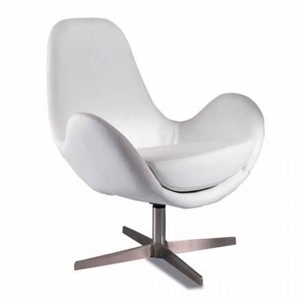 Fotoliu din sufragerie tapițat și pivotant, din piele, design modern - Gajarda