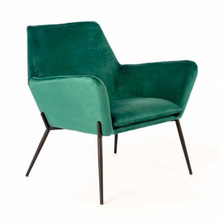 Scaun Lounge Modern din Catifea Petrol Verde și Metal Negru - Tonifiat