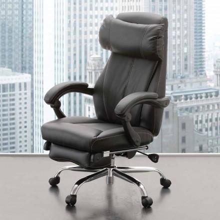 Fotoliu de birou rotativ și înclinat în piele ecologică neagră - Nazzareno