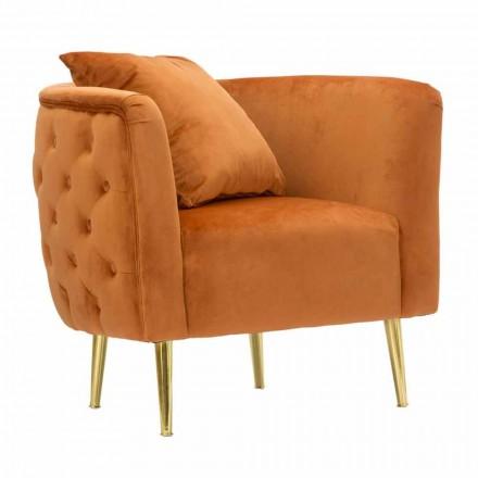 Fotoliu Lounge cu design modern din catifea, lemn și fier - Ruthie