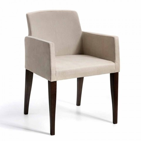 Omega design modern din piele faux și fotoliu din lemn, fabricat în Italia