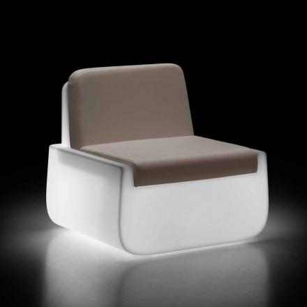 Fotoliu luminos pentru exterior în polietilenă cu pernă Made in Italy - Belida