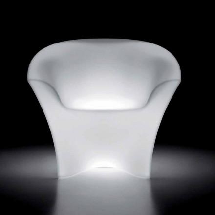 Fotoliu de exterior luminos din polietilenă cu lumină LED Made in Italy - Conda