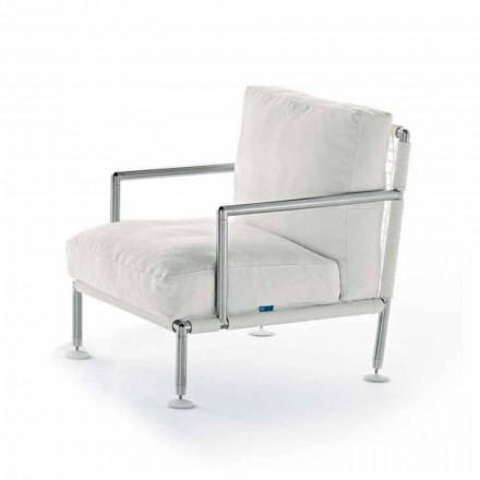 Fotoliu de design modern din oțel și PVC negru sau alb pentru exterior - Ontario2