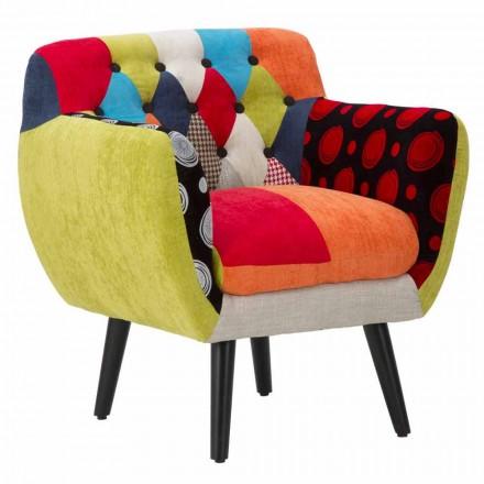 Fotoliu colorat Patchwork cu design modern din țesătură și lemn - Koria
