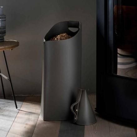 Porta pelete lingura din interior Sapir de design din piele neagră