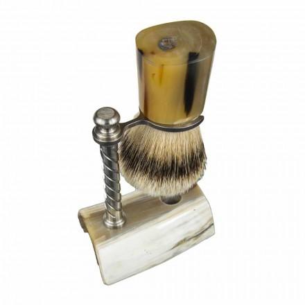 Set de barbă cu pensulă și suport pentru perii în corn de bou Made in Italy - Diplo