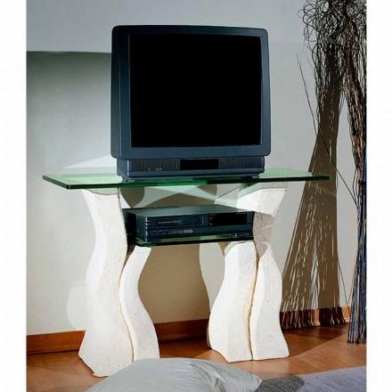 Stație TV în piatră Vicenza și cristal Khloe sculptat manual