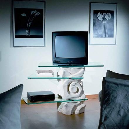 Stație TV în piatră Vicenza și cristal Agape sculptat manual