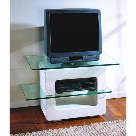 Stativ modular de televiziune Pietra di Vicenza și cristal, sculptat manual, Eleni