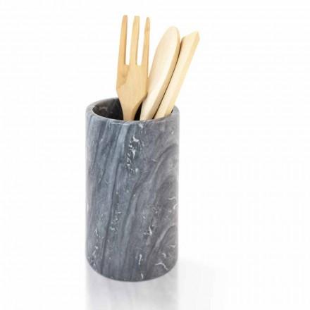 Suport de scule de bucătărie din marmură albă gri sau neagră, fabricat în Italia - Tulvio