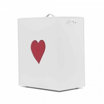 Coș de rufe din piele contemporană fabricat în Italia Adele, inserție de inimă