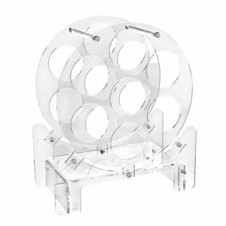 Suport pentru sticle de masă de design în plexiglas transparent sau cu lemn - Vinello