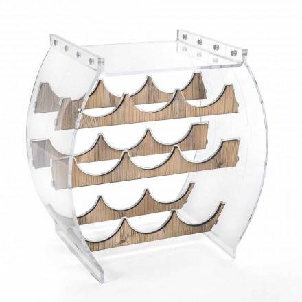 Suport pentru sticle de podea în plexiglas transparent și design din lemn 9 locuri - Stria