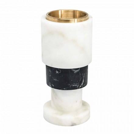 Suport de lumânări bicolore reduse și alamă Made in Italy - Brett