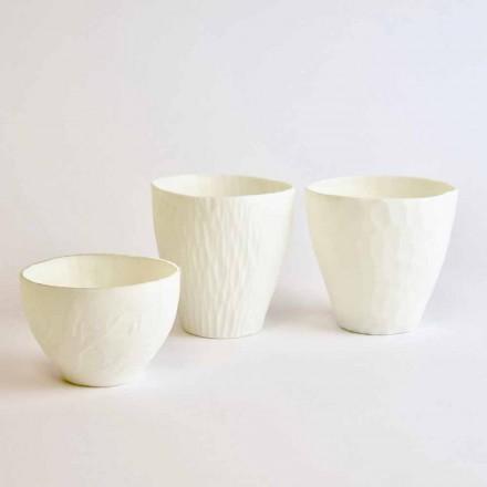 Suport lumânare design în porțelan alb decorat 3 bucăți - Arcireale