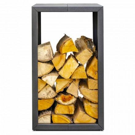 Suport pentru lemn de foc exterior sau interior, negru sau corten 45x45xH70 cm - Riviera