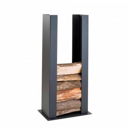 Suport din lemn pentru podea / perete din oțel negru cu coloană de design modern - Grecale