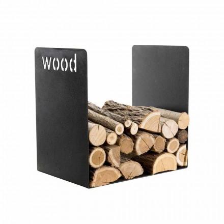 Suport modern din lemn cu design minimal din oțel negru cu gravură - Altano