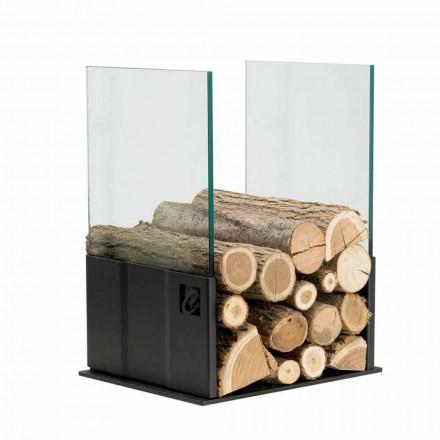 Suport coloană din lemn cu design modern din oțel și sticlă - Maestrale4