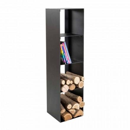 Suport de bușteni modern din lemn de interior cu rafturi fabricate în Italia - Cauro1
