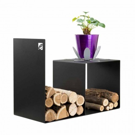 Suport de lemn cu design modern cu masă interioară din oțel negru - Cecia