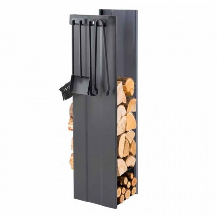 Suport pentru lemn de foc de design cu 4 unelte interioare Made in Italy - Janet