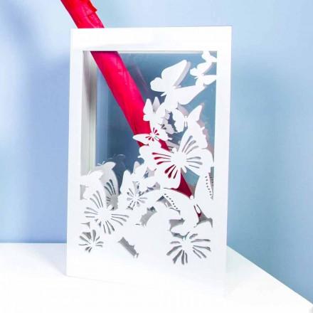 Stand de umbrele din lemn alb cu design modern decorat cu fluturi - Papilio