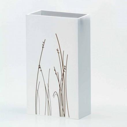 Stand umbrelă albă din lemn decorat design modern dreptunghiular - filigran
