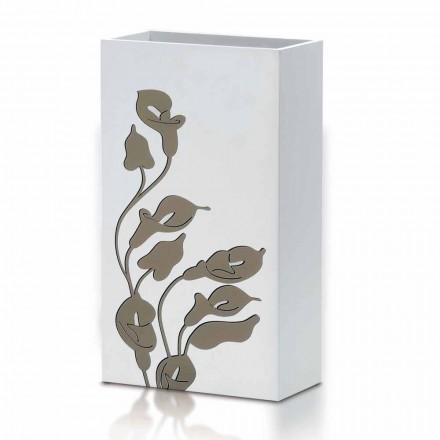 Stand de umbrele din lemn alb Design modern cu decorațiuni florale - Caracalla