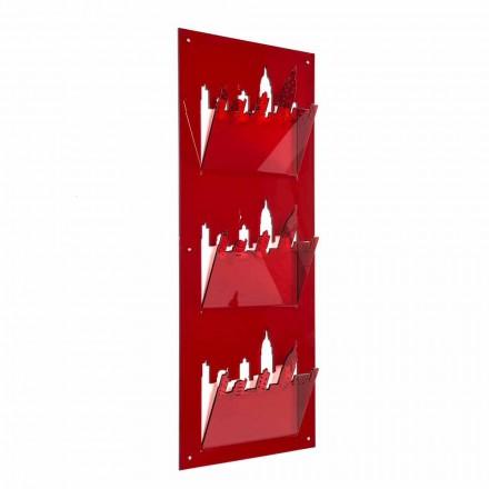 Revista de perete Rack cu trei compartimente din plexiglas Made in Italy - Filarino