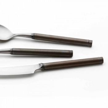 24 tacâmuri tacâmuri din oțel satinat design artizanal italian - Damerino