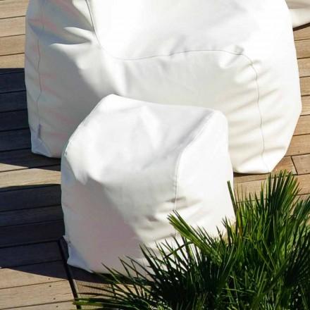 Design pouf Cloud Trona în alb din imitație de piele nautice făcute în Italia