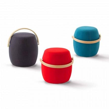 Pouf cu mâner colorat din material fabricat în Italia Foligno