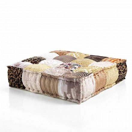 Pouf pătrat etnic în material patchwork sau catifea - fibră