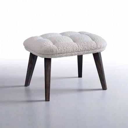 Puf de design acoperit cu țesătură cu bază din lemn Fabricat în Italia - Clera