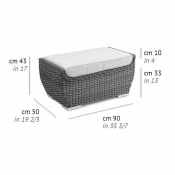 Bancă în aer liber cu puf în design de lux din ratan țesut sintetic - Yves
